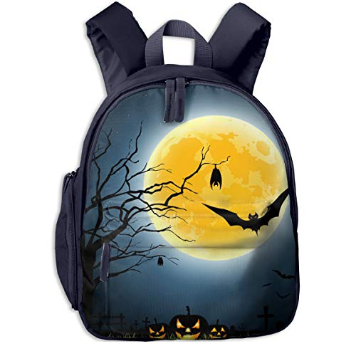 Halloween Full Moon Party At Night Double Zipper Waterproof Children Schoolbag With Front Pockets For Teens Boys Girls ()