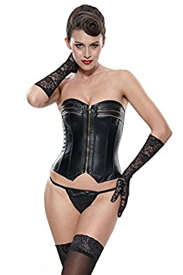 Franato Women's Sexy Overbust Faux Leather Corset Top