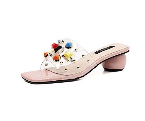 Transparente zapatillas frescas mujeres bomba 5 cm Chunkly talón sandalias de punta abierta Mules zapatos de vestir Moda color remaches OL zapatillas zapatos Boho zapatos ocasionales talla Eu 34-40 Rosado