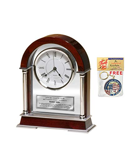 (AllGiftFrames Personalized Engraved Clock Large Table Cherry Arch Silver Chrome Posts Birthday Retirement Employee Recognition Anniversary Mantle Desk Table Clock Service Award Boss Coworker)