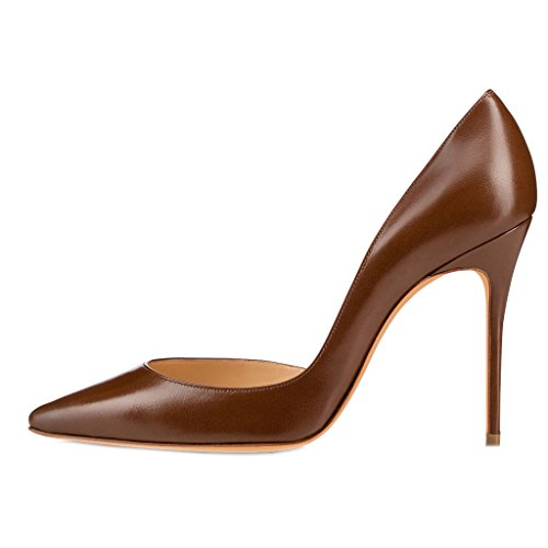 Jushee High Heels for Women Pumps Pointed Toe Patent Suede Court Shoes Stiletto 10cm 4 inch Brown WQ9gSqsd