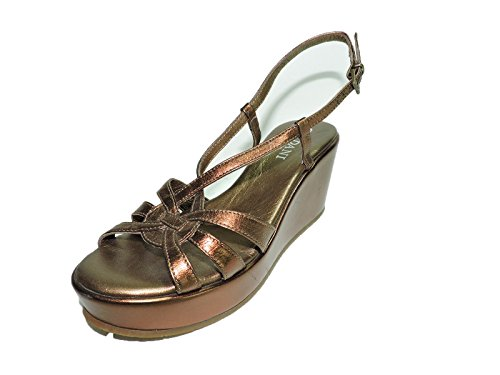 Cordani Leather Heels (Cordani Womens Sa8373 Bronze Leather Wedge Platform Sandals Open Toe 3.25