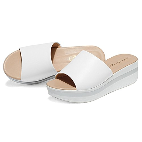 Btrada Womens Platform Slides Soft Sole Anti-slip Mid Wedge Sandals White I4bdUet