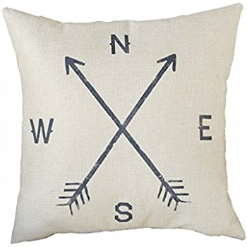 HomeTaste Indoor Cotton Linen Decorative Throw Pillow Cover Compass 18 by 18 inch