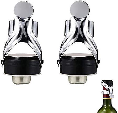 YGHH 2 Piezas Tapón de Vino de Acero Inoxidable, Tapón de Vino Único, Tapón de Champán Sellado Al Vacío, Reutilizable Sellado Acero Inoxidable Botellas de Tapón para Champán, Vino Espumoso
