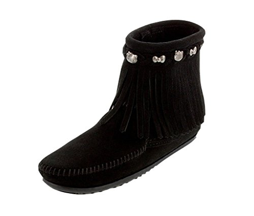 Minnetonka Women's Hello Kitty 40Th Anniversary Fringe Boot Black 9.5 M US Minnetonka Genuine Boots