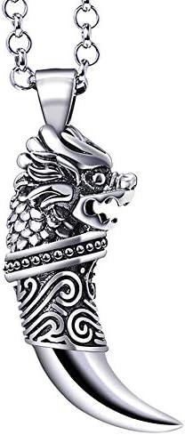 N·XHXL Herren Charm Halskette, Vintage Herrschsüchtige Silber Wolf Zähne Anhänger, 925 Silber Kette/Kiel Kette 21,65 Zoll, Atemberaubendes Geschenk