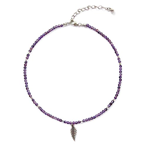MHZ JEWELS Amethyst Stone Choker Necklace Sterling Silver Plated Amethyst Healing Crystal Beaded Chakra Gem Choker Necklace Adjustable for Women