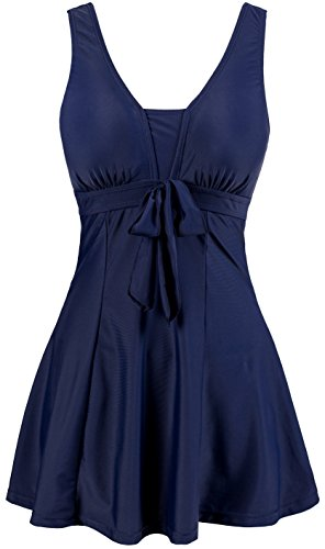 Apron Tankini - Wantdo Women's Cute Plus Size Swimsuits Beach Living SwimMini Hot Spring Dress Navy