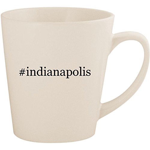 #indianapolis - White Hashtag 12oz Ceramic Latte Mug Cup