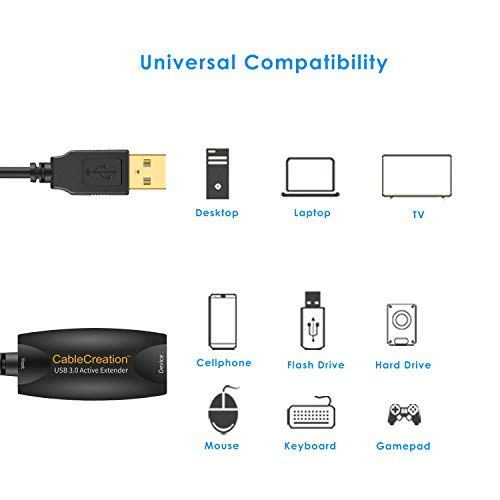 CableCreation (Long 16.4 FT) Super Speed Active USB 3.0 Extension Cable, USB 3.0 Extender USB Male to Female Repeater Cord with Signal Booster Compatible Oculus Rift, Xbox, PS4 and More, Black
