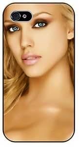 For Iphone 4/4S Case Cover Jessica Alba, blue eyes - black plastic case, hot girl, girls