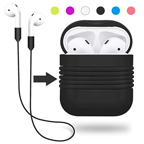 Yometome AirPods Case, Shockproof Silicone Protective Cover Accessories Skin with Earphone Sports Anti-lost Strap Rope for Apple Air pods Charging Ear Hook Dock Cases Black