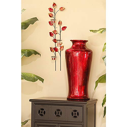 (Heather Ann Creations Bohemian Decorative Ceramic Vase Foiled and Lacquered With Porcelain and Water Resistant, 24
