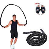 AUTUWT Heavy Jump Rope Skipping Rope Workout Battle Ropes with Gloves for Men Women Total Body Workouts Power Training Improve Strength Building Muscle(1 Inch,9.2 Feet)