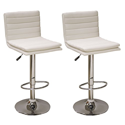 AmeriHome Modern Ripple Back Bar Stool - 2 Piece White BS43WSET Buffalo Padded Bar Stools
