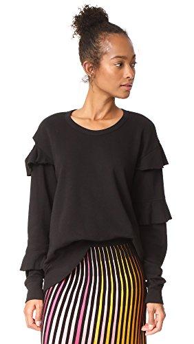Wilt Women's Raw Ruffle Sweatshirt, Black, Large by Wilt (Image #1)