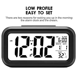 Battery Operated LCD Digital Alarm Clock- Portable Electronic Calendar Wake Up Clock- Auto Dimmer(Nightlight)- Backlight- Snooze- Temperature- Universal (Black, 4.6)