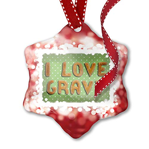 (NEONBLOND Christmas Ornament I Love Gravy Biscuits Tart Bakery, red)