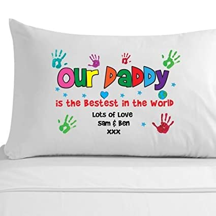 Our daddy fathers day gift, 100% Egyptian Cotton Pillowcase, personalised  fathers day gift from the children, kids fathers day gift, kids handprint