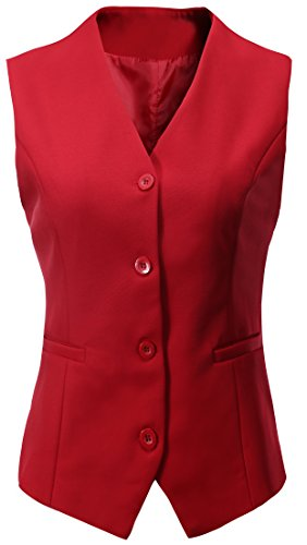 - Vocni Women's Fully Lined 4 Button V-Neck Economy Dressy Suit Vest Waistcoat,Red,US S/Asia XL