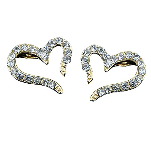 EYX Formula Silver Crystal Rhinestone heart shape stud Earrings,Lovely Heart Shape Stud Earrings Jewelry for Women Lady Girls ()