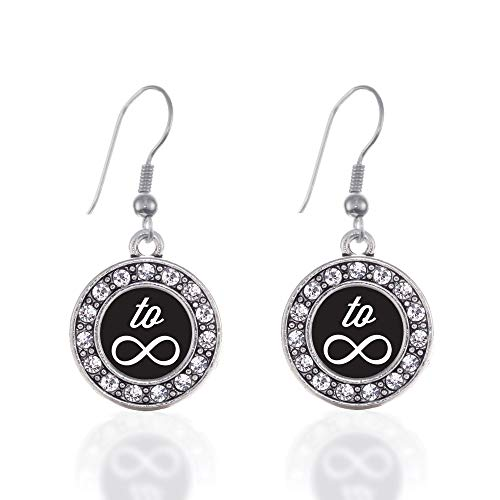 Inspired Silver - Roll The Dice Charm Earrings for Women - Silver Circle Charm French Hook Drop Earrings with Cubic Zirconia Jewelry