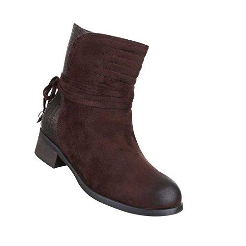 Damen Boots Stiefeletten Schuhe Mit Deko Schnürung Schwarz Braun 36 37 38 39 40 41 Braun