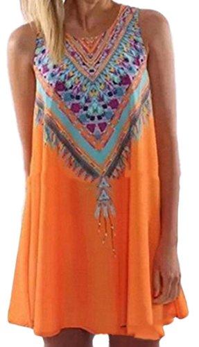 Club Sleeveless Crewneck Ethnic Mini Dress line Orange Big Print Womens A Tang wqznXgI