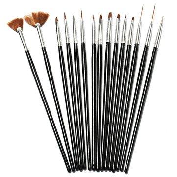 (Nail Tools - 15pcs Black Nail Art Acrylic Uv Gel Design Brush Set - Nail Brush Set Brushes Design Polish Paint Manicure Acrylic Tools - For Art)