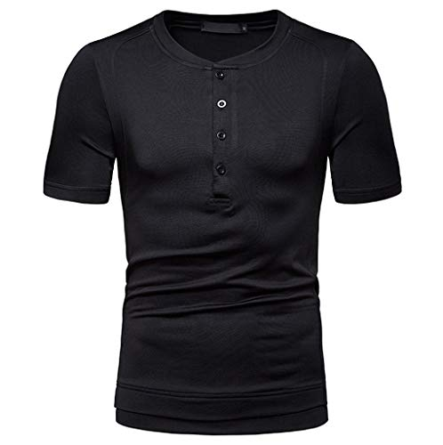 Mens Casual Slim Fit Basic Henley Long Sleeve T-Shirt Solid Color Zackate Sweatshirts Tee Shirts Black -