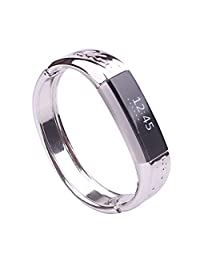 Watch Band, ABC Abstract Design Luxury Stainless Metal Watch Band Jewelry Bracelet Strap Bangle for Fitbit Alta (Sliver)