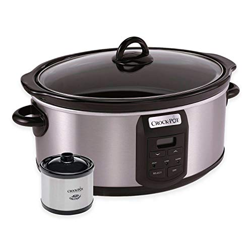 CrockPot SCCPVS703S 7Quart Programmable Slow Cooker with Little Dipper Warmer Stainless Steel