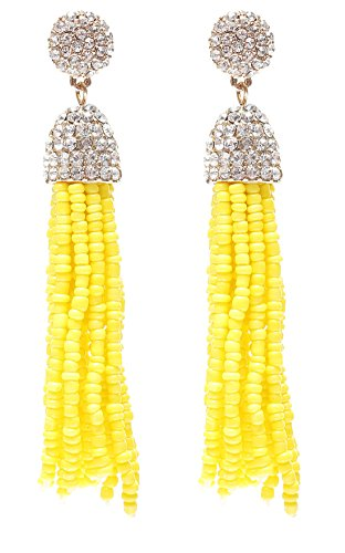 VK Accessories Bead Earrings Crystal Earring Studs Fringe Dangle Earrings Soriee Drop Earrings Beaded Tassel Ear Drop Yellow 3
