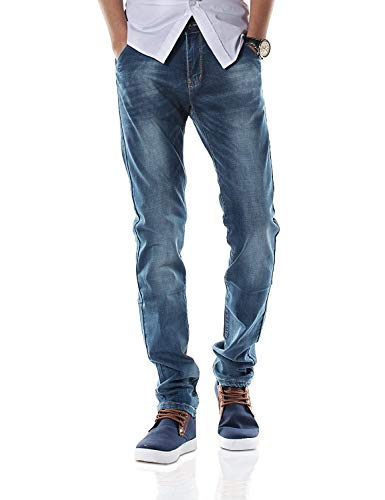 Slim Mens T Jeans Pants Vintage Fashion Stretch Tamaños Cómodos Straight Denim Pantalones Largos Pantalones Casuales Jeans Pantalones Ropa (Color : Dh8310XBlau, Size : 31/32L)