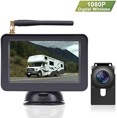 LeeKooLuu 1080P Digital Wireless Backup Camera for Car Truck RV Small Trailer Van Camper,5 LCD Monitor High-Speed Observation System,Super Night Vision,IP 69K Waterproof Camera,Guild Lines ON Off