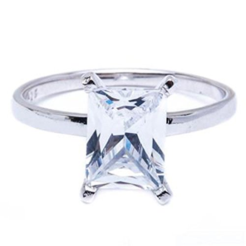 Radiant Cut Solitaire Wedding Engagement Ring Radiant Simulated CZ 925 Sterling Silver, (Radiant Solitaire Ring)
