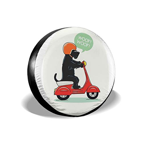 GULTMEE Tire Cover Tire Cover Wheel Covers,Illustration of A Puppy Riding Scooter with Woof Woof Text Balloon Comic Design,for SUV Truck Camper Travel Trailer Accessories(14,15,16,17 Inch) 17
