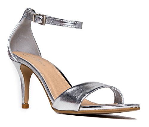 Low Ankle Strap Work Heel, Silver, 6.5 B(M) US