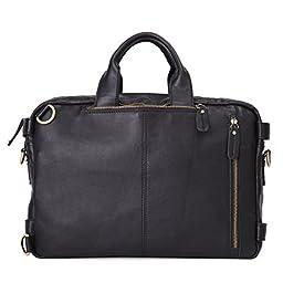 Leathario Genuine Leather Multifunction Messenger Bag Backpack mens shoulder bag(Black)