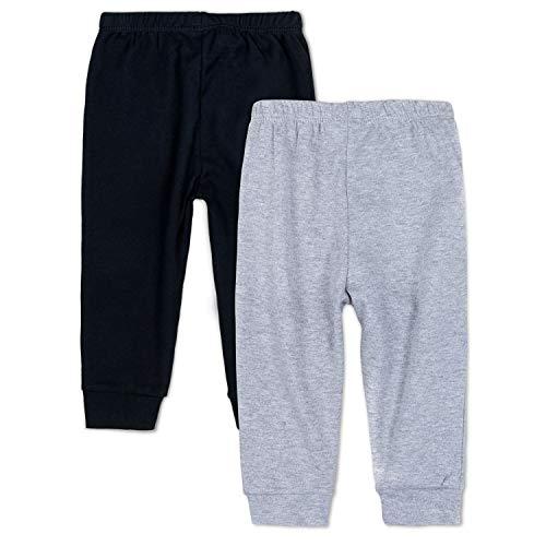 Newborn Baby Boys Sweatpants - SOBOWO Solid Baby Leggings, Unisex Baby Toddler Cotton Crawling Pants for Newborn Boys Girls Pack of 2 (0-3 Months, Black/Grey)