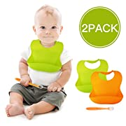 Waterproof Baby Bibs Silicone Feeding Bib BALFER 2 Packs Easy Clean Baby Boys Girls Bibs with Catcher Pocket For Infants & Toddlers with 1 Baby Spoon (Green & Orange, 6-72 months)