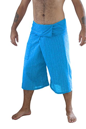 Siam Secrets 100% Cotton Pinstripe 3/4 Capri Thai Fisherman Pants Plus Sky Blue by Siam Secrets