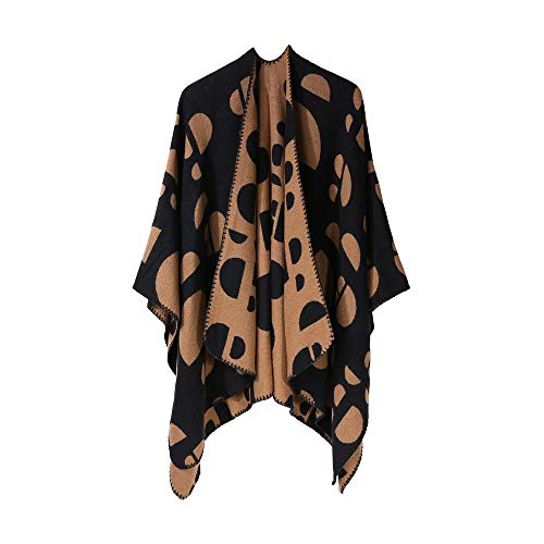 (Sunmoot Shawl for Women Winter Knitted Cardigans Leopard Stripe Capes Sweater Coat Cashmere Poncho)