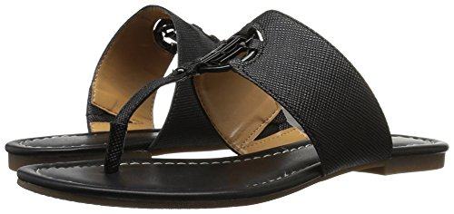 Slide Black Leather Open Womens Toe Casual Tommy Sia Hilfiger Sandals wxzIqn