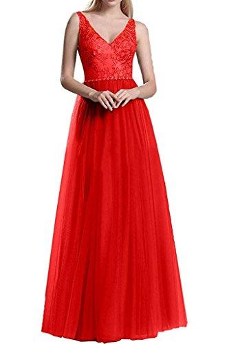 Damen Abendkleider Promkleider Marie La Spitze Rot V Langes Brautmutterkleider Ausschnitt Braut EE1Fq