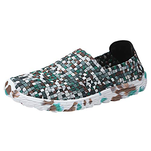 Fitfulvan Men's Outdoor Mesh Weaving Casual Sports Shoes Run Breathable Shoes Sneakers Round Head Relax Walking Shoes Army Green