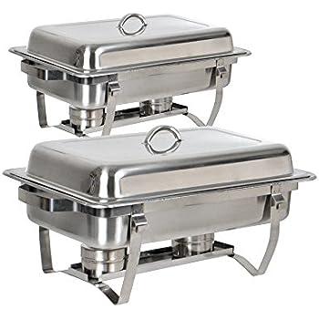 amazon com tms set of 2 8 quart stainless steel rectangular rh amazon com buffet chafing dish set 24pc buffet chafing dish set disposable