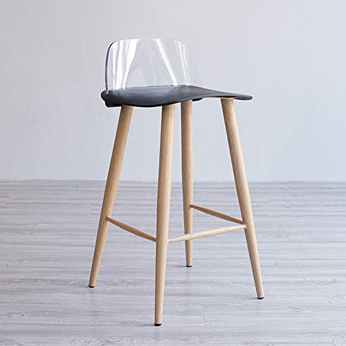 75 cm Seat Height Barstool for Kitchen Pub Counter Chairs Wooden High Stools Indoor, 5 Colours Available-Black