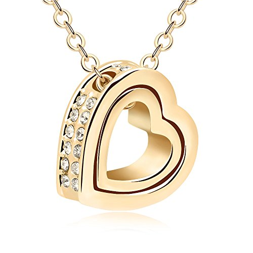ShankMing Women's Double Love Heart Shape Pendant Necklace,Crystal From Swarovski Jewelry for Christmas Gifts